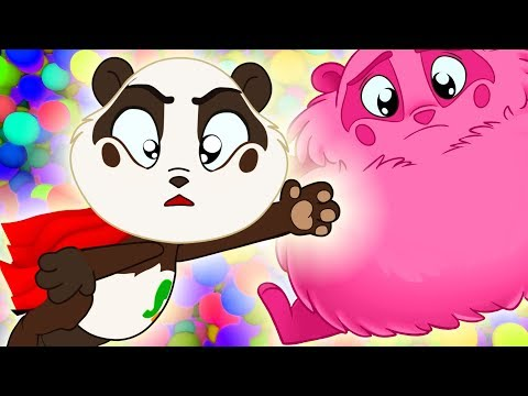 Bad Superhero Ball Pit Show to Learn Colors for Kids w Nursery Rhymes - Panda Bo Bad Baby