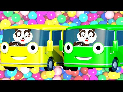 School Bus Color Song Ball Pit Show Learn Colors w Nursery Rhymes - Panda Bo Bad Baby Compilation