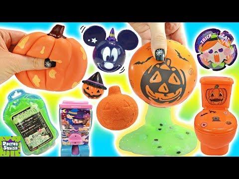 BIG Halloween Show Pumpkin Squishy Cutting Open Glow-in-the-Dark Slime Ball Doctor Squish