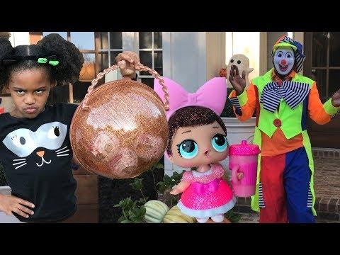 Giant LOL Surprise Ball Lil Sister Big Sister VS Clown Steals RARE LOL Surprise Dolls Go To Jail
