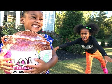Giant Lol Surprise Ball at Toy School Bad Lil Sister FAKE Steals Big Sister Lol Dolls - Go to Jail