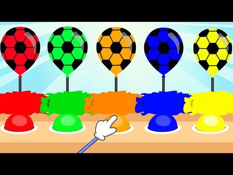 Colors for Children Learn with Soccer Ball Balloons WaterColor Balloons Popping Show For Kids