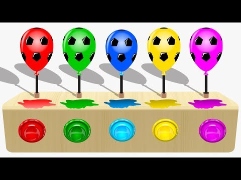 Learn Colors with Soccer Ball Balloons for Children Soccer Balloons Popping Show Balls for Kids