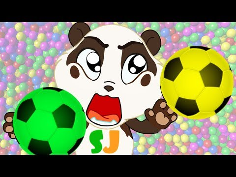 Soccer Ball Pit Show to Learn Colors w Nursery Rhymes Color Song - Panda Bo Bad Baby