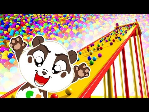 Giant Slide Ball Pit Show to Learning Colors for Kids - Panda Bo Educational Videos