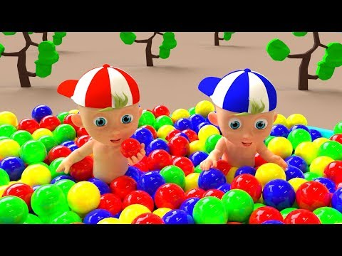 Baby Playing with Ball Pit Show - Learn colors with Baby and balls
