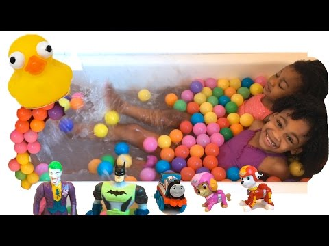 Giant Ball Pits Surprise Toy Challenge With Disney Cars and Thomas Naiah and Elli Toys Show