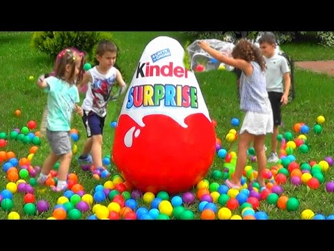 Super Giant KINDER SURPRISE Egg Ball Pit Show For Kids Learn Colours for Children Toddlers Babies