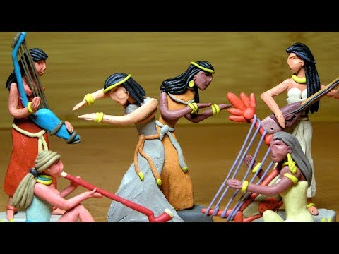 Ancient Egypt - girls-dancers - clay modeling