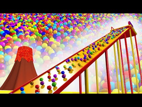 Giant Slide Ball Pit Show to Learning Colors for Kids - Panda Bo Bad Baby Educational Videos